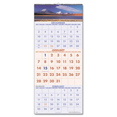 Visual organizer - visual organizer  recycled senic three-month wall calendar,  12 1/4-inch x 27-inch, sold as 1 ea