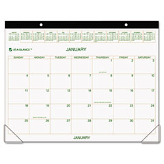 Recycled Two-Color Desk Pad Calendar, Green and Brown, 22&quot; x 17&quot;