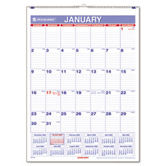 At-a-glance - recycled monthly wall calendar, blue and red,  8-inch x 11-inch, sold as 1 ea