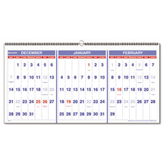 At-a-glance - recycled three-month reference wall calendar, 23 1/2-inch x 12-inch, sold as 1 ea