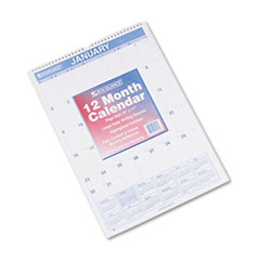 At-a-glance - recycled monthly wall calendar, blue and red, 12-inch x 17-inch, sold as 1 ea