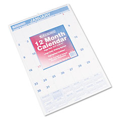 At-a-glance - recycled monthly wall calendar, blue and red,15 1/2-inch x 22 3/4-inch, sold as 1 ea