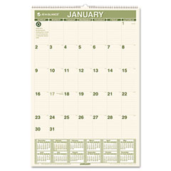 At-a-glance - recycled monthly wall calendar, 15 1/2-inch x 22 3/4-inch, sold as 1 ea