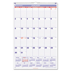At-a-glance - recycled monthly wall calendar, blue and red, 20-inch x 30-inch, sold as 1 ea