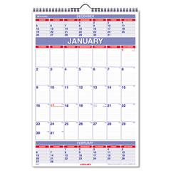 At-a-glance - recycled three-month calendar, 15 1/2-inch x 22 3/4-inch, sold as 1 ea