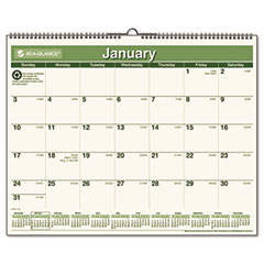 At-a-glance - recycled wall calendar,  green, 15-inch x 12-inch, sold as 1 ea