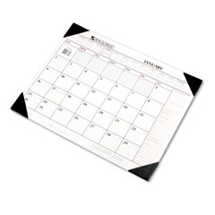 At-a-glance - recycled two-color desk pad, black and red, 22-inch x 17-inch, sold as 1 ea