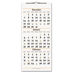 At-a-glance - recycled three-month reference wall calendar, rust and gray, 12 1/4-inch x 27-inch, sold as 1 ea