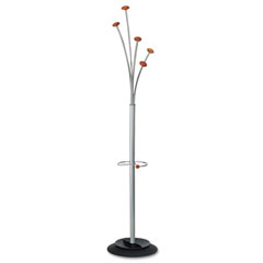 Alba - festival coat tree w/umbrella holder, five knobs, metal/wood, gray/mahogany, sold as 1 ea
