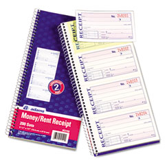 Adams - two-part rent receipt book, 2-3/4 x 5-1/4, two-part carbonless, 200 forms, sold as 1 ea