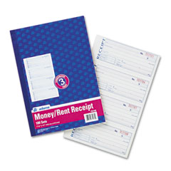 Adams - receipt book, 7-5/8 x 11, three-part carbonless, 100 forms, sold as 1 ea