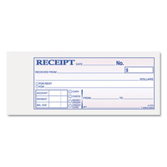 Adams - receipt book, 2-3/4 x 7-3/16, three-part carbonless, 50 forms, sold as 1 ea