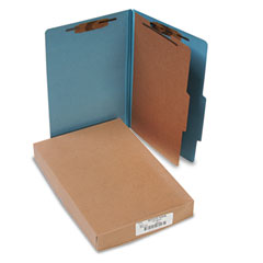 Acco - pressboard 25-pt. classification folders, legal, four-section, sky blue, 10/box, sold as 1 bx