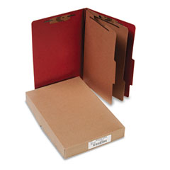 Acco - pressboard 25-pt. classification folder, legal, six-section, earth red, 10/box, sold as 1 bx