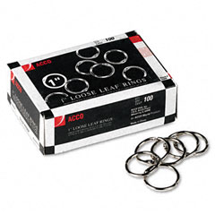 Acco - metal book rings, 1-inch diameter, 100 rings/box, sold as 1 bx