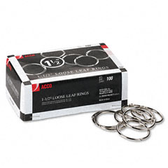 Acco - metal book rings, 1 1/2-inch diameter, 100 rings/box, sold as 1 bx
