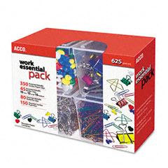 Acco - club clip pack, 80 ideal, 45 binder, 350 jumbo paper clips, 150 push pins, sold as 1 pk