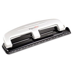 Paperpro - 12-sheet capacity three-hole punch, rubber base, gray, sold as 1 ea