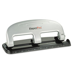 Paperpro - three-hole punch, 20 sheet capacity, black/silver, sold as 1 ea