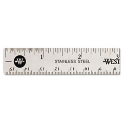 Westcott - stainless steel ruler w/cork back and hang hole, 6-inch, silver, sold as 1 ea