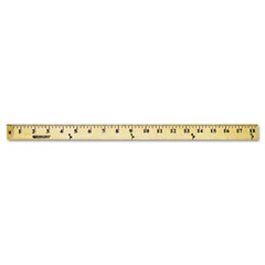 Westcott - wood yardstick, hanging holes & metal ends, 36-inch, clear lacquer finish, sold as 1 ea