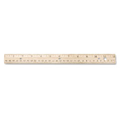 Westcott - wood ruler, english/metric, 12-inch, three hole punched, hang hole, lacquer finish, sold as 1 ea