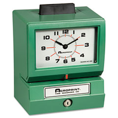 Acroprint - model 125 analog manual print time clock with month/date/0-23 hours/minutes, sold as 1 ea