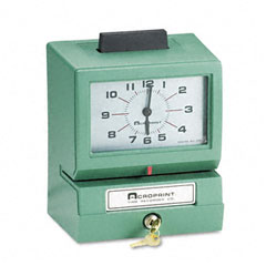 Acroprint - model 125 analog manual print time clock with date/0-12 hours/minutes, sold as 1 ea