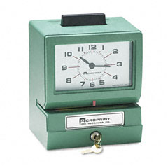 Acroprint - model 125 analog manual print time clock with date/0-23 hours/minutes, sold as 1 ea