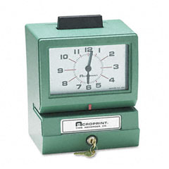 Acroprint - model 125 analog manual print time clock with month/date/0-12 hours/minutes, sold as 1 ea