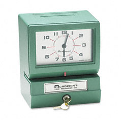 Acroprint - model 150 analog automatic print time clock with day/1-12 hours/minutes, sold as 1 ea