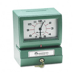 Acroprint - model 150 analog automatic print time clock with month/date/1-12 hours/minutes, sold as 1 ea