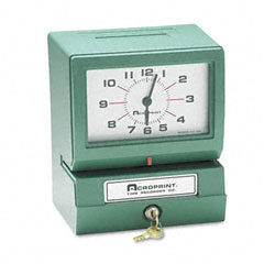 Acroprint - model 150 analog automatic print time clock with month/date/0-23 hours/minutes, sold as 1 ea