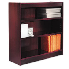 Alera - square corner bookcase, wood veneer, 3-shelf, 35-3/8w x 11-3/4d x 36h, mahogany, sold as 1 ea