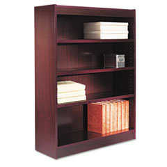 Alera - square corner bookcase, wood veneer, 4-shelf, 35-3/8w x 11-3/4d x 48h, mahogany, sold as 1 ea