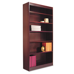 Alera - square corner bookcase, wood veneer, 6-shelf, 35-3/8w x 11-3/4d x 72h, mahogany, sold as 1 ea
