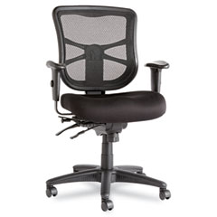 Alera - elusion series mesh mid-back multifunction chair, black, sold as 1 ea