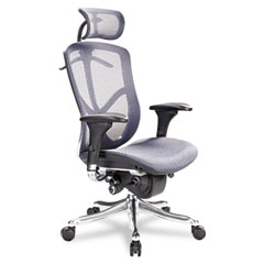 Alera EQ Series Ergonomic Multifunction High Back Mesh Chair  Azure Blue  Aluminum
