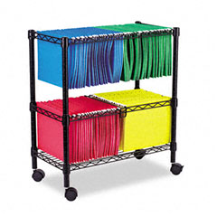 Alera - two-tier rolling file cart, 26w x14d x 29-1/2h, black, sold as 1 ea