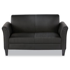Alera - reception lounge furniture, 2-cushion loveseat, 55-1/2w x 31-1/2d x 32h, black, sold as 1 ea