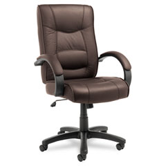Alera - strada series high-back swivel/tilt chair, brown leather upholstery, sold as 1 ea