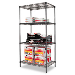 Alera - wire shelving starter kit, 4 shelves, 36w x 24d x 72h, black anthracite, sold as 1 ea