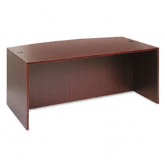 Alera - valencia bow front desk shell, 71w x 35-1/2d to 41-3/8d x 29-1/2h, mahogany, sold as 1 ea