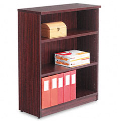 Alera - valencia series bookcase, 3 shelves, 31-3/4w x 12-1/2d x 39-3/8h, mahogany, sold as 1 ea