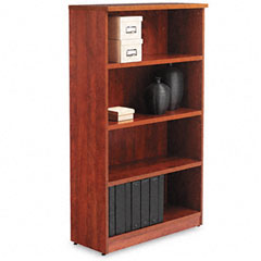 Alera - valencia series bookcase, 4 shelves, 31-3/4w x 12-1/2d x 55h, medium cherry, sold as 1 ea
