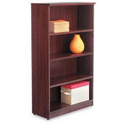 Alera - valencia series bookcase, 4 shelves, 31-3/4w x 12-1/2d x 55h, mahogany, sold as 1 ea