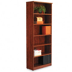 Alera - valencia series bookcase, 6 shelves, 31-3/4w x 12-1/2d x 80-3/8h, medium cherry, sold as 1 ea