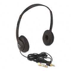 Amplivox - personal multimedia stereo headphones w/volume control, black, sold as 1 ea