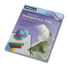 Apollo - color laser printer/copier transparency film, letter, clear, 50/box, sold as 1 bx