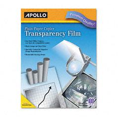Apollo - laser copier transparency film, removable sensing stripe, ltr, clear, 100/box, sold as 1 bx